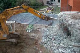 Travaux du bâtiment I, démolition bunker, 2013